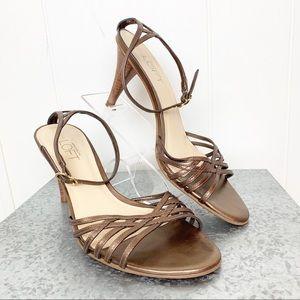 Loft bronze leather strappy heeled sandals.